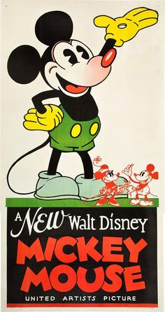 Disney Mickey Mouse Retro FIlm Tv Kinder Poster Plakat Druck