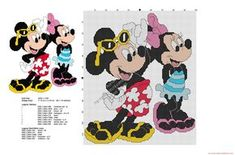 Mickey and Minnie Summer time free Disney cross stitch pattern