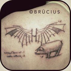 #BRÜCIUS #TATTOO #SF #SanFrancisco #brucius #engraving #etching #dotwork #linework #blackwork #Renaissance #DaVinci #drawing #flying #machine #pig #wings