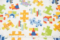 Puzzles on White - Pieces Of Hope - Riley Blake - Quilting Cottons - 1/4 metre
