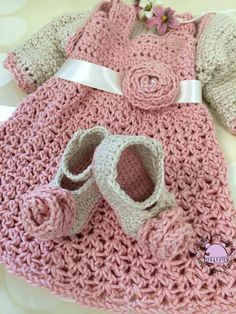 Crochet dress with shrug and shoes   012 by creativehatsandmore, $78.00