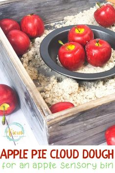 This apple pie sensory bin includes scented 3-ingredient cloud dough to create fine motor and pretend play for kids. To play with Ten Apples Up On Top #kidsactivities #fallactivities #sensoryplay #applepiesensoryplay #applepie #preschool #parenting