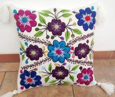 Peruvian pillow embroidered cushion cover 16x16 alpaca by khuskuy