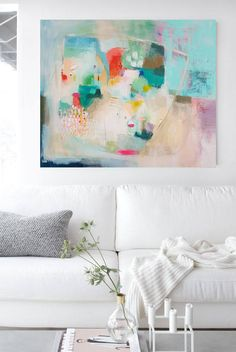 Large colorful original abstract painting turquoise orange