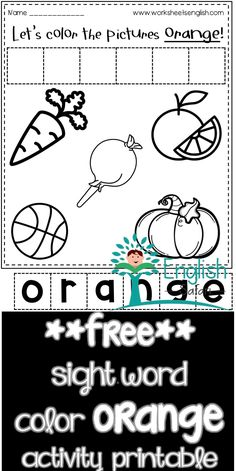 color worksheets for preschool and kindergarten. Color the pumpkin, orange, carrot, basketball, lollipop orange. Cut the letter tiles and make the word orange and paste it. Color Worksheets For Preschool, Red Crayon, Remember The Name, Blue Cups, Sight Word Activities, Word Free, Activity Sheets, Sight Words, Color Names