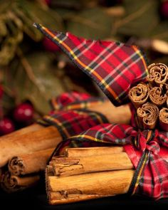 Cinnamon Sticks tied with lovely red plaid ribbon