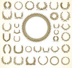 賞状などに使える高品位なオリーブ・リース(月桂冠)イラスト素材(EPS) - Free-Style