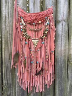 Handmade Pink Suede Leather Cross Body Bag Hippie Fringe Boho Hobo Purse B Jay | eBay