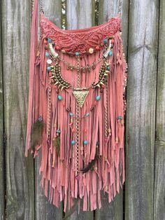 Handmade pink Suede Leather Cross Body Bag Hippie Fringe Boho Hobo Purse B.Jay…