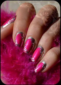 magenta silver #nail art
