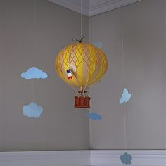 Cloud Baby Mobile + hot air balloon love the hot air balloon idea Baby Decor, Nursery Decor, Nursery Ideas, Cloud Mobile, Mobile Mobile, Baby Boy Nurseries, Baby Rooms, Kids Rooms, Hot Air Balloon