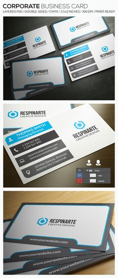 Buy Corporate Business Card - by respinarte on GraphicRiver. Minimal Business Card, Corporate Business, Business Cards, Small Office, Name Cards, Card Sizes, Creative Design, Seo