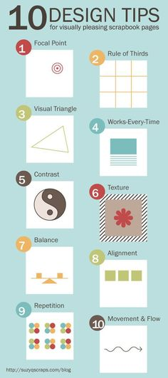 Save this image as a cheat sheet when you're laying out your scrapbook page. These 10 design tips will help you to create visually appealing scrapbooking pages. Go to the source link below fo…