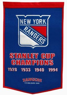 "NHL New York Rangers Dynasty Banner by Winning Streak. $53.70. One 38"" x 24"" NHL licensed wool banner commemorating the World Series Championships."