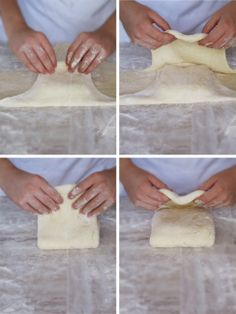 Croissants! - Folding the detrempe (puff pastry or croissant dough) over the beurrage (butter and flour block)