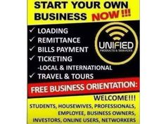 One Stop Shop System with lifetime Benefits and one time Investment. On the Go Business, Good for Employed/ Un-Employed/ Self- Employed with no required education level as long as you have self confidence and business mindset to Trade. Start your Own Business using SMARTPHONE, TABLET, LAPTOP OR PC with internet. Join with us to be our CORPORATE PARTNERS/ FRANCHISE and DEALER. Do not depend on single income, Make investment to create a second source-Warren Buffet GOOD NEWS! UNI...