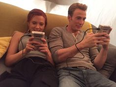 Chris Evans and ScarJo taking it back in between shoots for Avengers:Endgame
