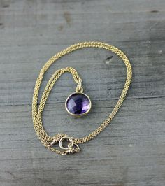 Amethyst Necklace on 14k Gold Fill by true2u on Etsy