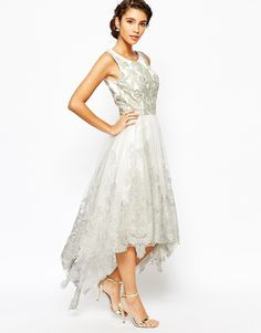 Image 4 ofChi Chi London Premium Embroidered High Low Prom Dress