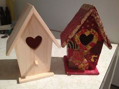 Decoupage bird house before and after.