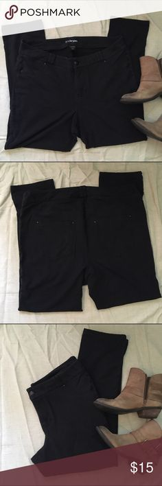 Lane Bryant Straight Leg Pants Black stretchy pants. These are very soft and almost feel like legging material. They are in good condition with just slight fading in color. Lane Bryant Pants