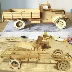 CZYY Wooden Dump Truck Building Kit with Trailer Large DIY Wood Car Mechanical Construction Toy Creative Gift for Kids & Adults Wooden Toy Trucks, Wooden Car, Wooden Toys, Cardboard Toys, Paper Toys, 3d Puzzel, Brain Teasers For Kids, Wood Toys Plans, Woodworking Toys