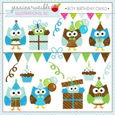 Boy Birthday Owls - 15 Cute Graphics with an Owl Birthday theme.  Great for invitations, scrapbooking and more.