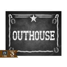 Western Themed Bathroom Outhouse signs  Chalkboard by PSPrintables