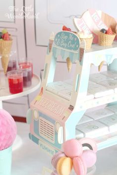 Ice cream truck at a ice cream birthday party! See more party planning ideas at CatchMyParty.com!