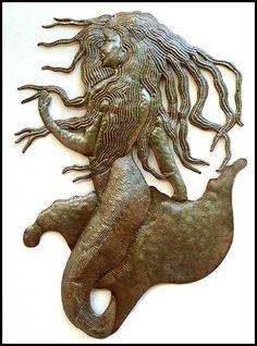 Haitian steel drum art mermaid wall hanging