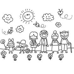 Happy family with grand mother,father,son,daughter children cartoon - Royalty-free Adult stock vector Family Drawing, Drawing For Kids, Art For Kids, Machine Silhouette Portrait, Family Clipart, Family Coloring Pages, Stick Figure Drawing, Stick Family, Family Theme