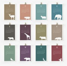 2012 Calendar, Wild Animal Printable
