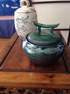 Green raku covered jar