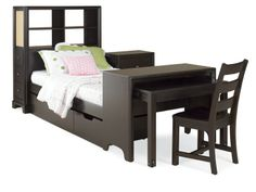 Midtown Wooden Storage Headboard Bedroom Set Desk Set
