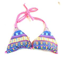 Triangle colorful swim top Never worn with tags forever 21 swim top Swim