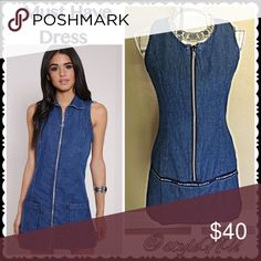 "Denim Dress - new with tags - taking offers Fab Co Jeans De France - Denim dresses are 🔥HOT🔥 but this sleeveless styling, partial zipper front, midi will keep you cool this spring/summer. For fall put a long shirt underneath, your favorite boots and keep on styling! 100% Cotton. 31"" L 17.5"" (armpit to armpit) With the zipper front, will accommodate sizing! InStyle Magazine May 2016 ""reviving 70's trend with a touch of French glam. New Wave Denim."" Pic on right is one for sale! Fab Co…"