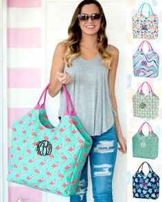 Monogrammed beach bag can be monogrammed with custom embroidery with a name or monogram. Haul it all to the beach with the large bag! Holds a couple of towel and all of the essentials! Patterns: Sea Turtle, Leopard, Flamingo, Pineapple & Marble Large Beach Bags, Large Bags, Beach Towel Bag, Birthday Basket, Embroidered Gifts, Beach Ready, Custom Embroidery, Paisley, Reusable Tote Bags