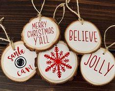 Homemade Ornaments, Homemade Christmas Gifts, Handmade Christmas, Christmas Diy, Christmas Decorations, Christmas Items, Christmas Ornament Storage, Farmhouse Christmas Ornaments, Christmas Signs Wood