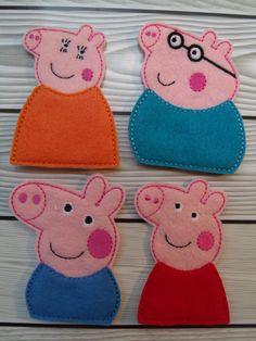 Set de títeres de dedo Peppa Pig por grettasembroidery en Etsy