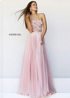 2014 Sherri Hill 11075 Beaded Blush Long Prom Dress - $172.00 : Buy Designer 2014 Dresses For Prom,Homecoming Dresses Online