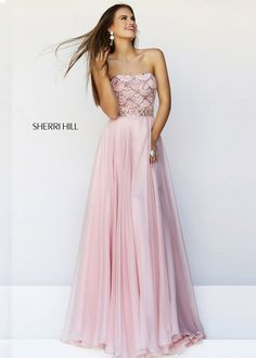 2014 Sherri Hill 11075 Beaded Blush Long Prom Dress - $172.00 : Buy Designer 2014 Dresses For Prom,Homecoming Dresses Online