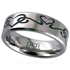 Geti Flat Titanium Tribal Love Ring
