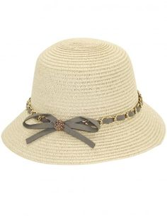 Dahlia Women's Summer Sun Hat - Interlaced Chain Bow Straw Bucket Hat