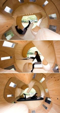 Rollit Homes – Students at the University of Karlsruhe in Germany designed these chic modular homes, which are built to incorporate multiple uses inside one small living space. The home functions like a mouse on a wheel; the homeowner can change the structure of the house by walking in the center to rotate it.
