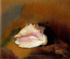 Le Coquillage, par Odilon Redon - Pastel 51 x cm 1912 Musée d'Orsay, Paris, France Odilon Redon, Fine Art Prints, Canvas Prints, Pastel Paper, Illustration Art, Illustrations, Seashell Art, Seashell Painting, Reproduction