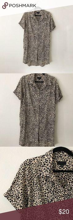 Volcom Leopard Print Shirt Dress / Tunic Oversized shirt dress in Leopard print . Volcom Leopard P Hair Tuck, Oversized Shirt Dress, Crochet Braids Hairstyles, Printed Shirts, Short Sleeves, Tunic, How To Wear, Cats, Gatos