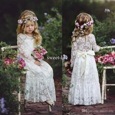 Boho Sweety Long Sleeve 2017 Sheath Flower Girls Dresses Jewel Illusion Sexy Back Empire With Bow Lace Appliques Floor Length Pageant Gowns Toddler Party Dresses Baby Easter Dresses From Sweet Life, $77.57| Dhgate.Com