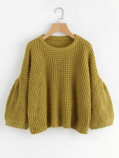 23.18 châteaux green textured wool jumper with puff sleeves