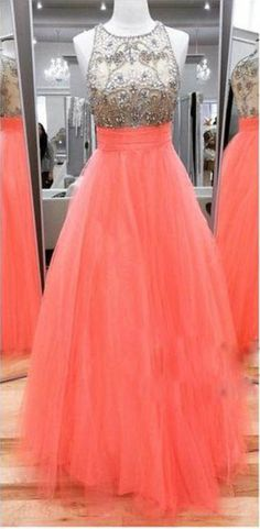 A-line Prom Dresses,Tulle Prom Dresses,Cheap Prom Dresses,Long Beaded #prom #promdress #dress #eveningdress #evening #fashion #love #shopping #art #dress #women #mermaid #SEXY #SexyGirl #PromDresses