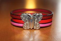 """""""NOUVEAUTE"""" bracelet en cuir rouge et rose fermoir papillon aimanté : Bracelet par isabond007"""